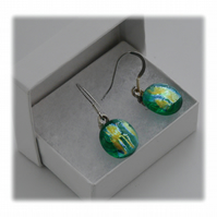 Handmade Fused Dichroic Glass Earrings 159 Aqua Gold shimmer