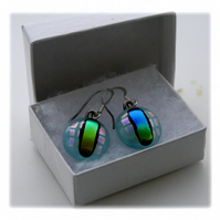 Handmade Fused Dichroic Glass Earrings 147 Turquoise pretty