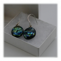 Handmade Fused Dichroic Glass Earrings 165 Aqua silver shimmer
