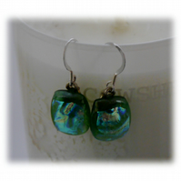 Handmade Fused Dichroic Glass Earrings 160 Green gold shimmer