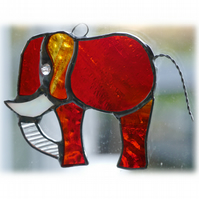 Elephant Suncatcher Stained Glass Amber 087