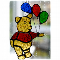 Bear with Balloons Suncatcher Stained Glass Handmade 011