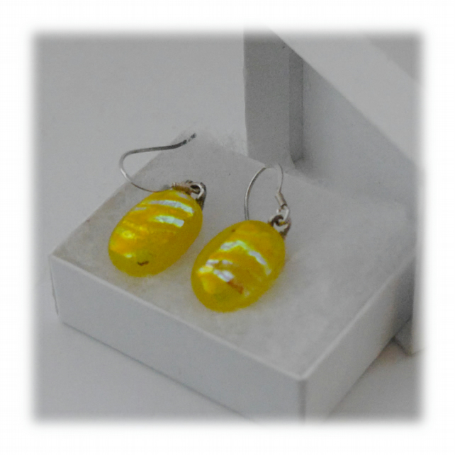 Handmade Fused Dichroic Glass Earrings 146 Yellow gold sparkle
