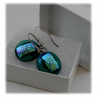 Handmade Fused Dichroic Glass Earrings 152  Emerald Turquoise Florentine