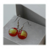 Handmade Fused Dichroic Glass Earrings 077 Red Gold Mini
