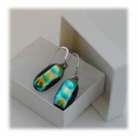 Handmade Fused Dichroic Glass Earrings 141 Blue Aquamarine bubbles