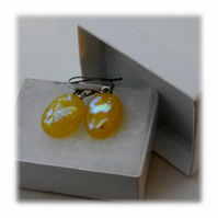 Handmade Fused Dichroic Glass Earrings 123 Yellow Shimmer