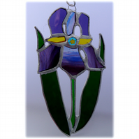 Iris Suncatcher Stained Glass Purple Flower 020