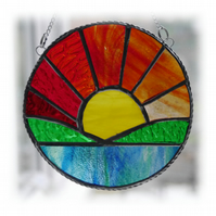 Sunrise Picture Stained Glass Suncatcher Handmade Sun Ring 030