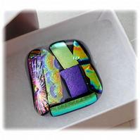 Brooch Dichroic Fused Glass 026 Abstract Handmade
