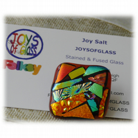 Pendant Dichroic Fused Glass 027 Abstract Handmade