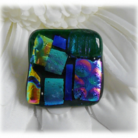 Pendant Dichroic Fused Glass 029 Abstract Handmade