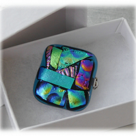 Brooch Dichroic Fused Glass 031 Abstract Handmade