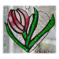 Tulip Heart Suncatcher Stained Glass Pink