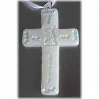 White Fused Glass Cross  Dichroic Suncatcher 008 10cm