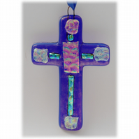 Biue Fused Glass Cross  Dichroic Suncatcher 006 10cm