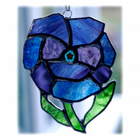 Pansy Suncatcher Stained Glass Blue Purple Flower 010