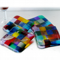 Fused Glass Coaster 8cm Rainbow patchwork Y4