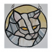 Cat Suncatcher Stained Glass Ring Grey White 019