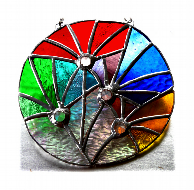 Fireworks Stained Glass Suncatcher Rainbow Handmade 002