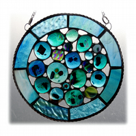 Rockpool Suncatcher Stained Glass Abstract Handmade fused 017