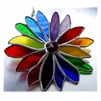 Rainbow Flower Stained Glass Suncatcher 054
