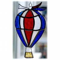 Hot Air Balloon Stained Glass Suncatcher 005 Red White Blue