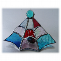 Spider's Web Stained Glass Suncatcher Spider