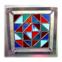 Stained Glass Patchwork Abstract Picture Suncatcher Handmade