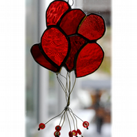 Balloons Suncatcher Stained Glass 009 Red