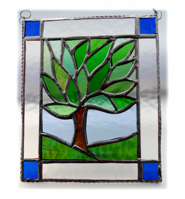 Leafy Tree Suncatcher Stained Glass Picture Framed Spring 001