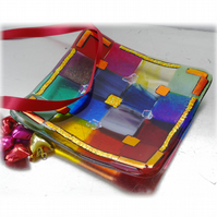 Patchwork Rainbow Dichroic Dish 12cm Fused Glass Square 002