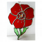 Poppy Suncatcher Stained Glass Handmade Red Flower 034