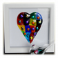 Rainbow Patchwork Heart in Box Frame Fused Glass Picture 003