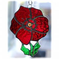 Poppy Suncatcher Stained Glass Handmade Red Flower 035