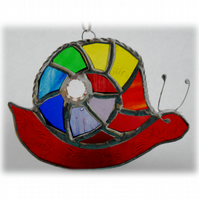 Snail Suncatcher Stained Glass Handmade Rainbow 010