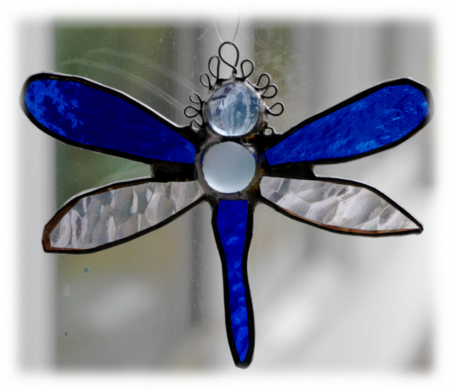 Dragonfly Suncatcher  Handmade Stained Glass Small Blue