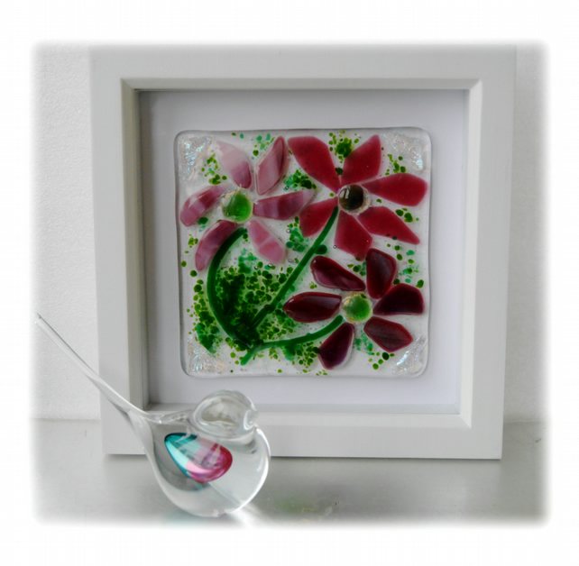 Fused Glass Flower Picture Box Framed 001