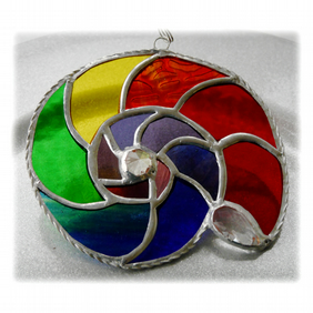 Ammonite Stained Glass Suncatcher Rainbow 014