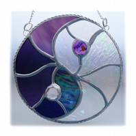 Yin Yang Suncatcher Stained Glass Handmade Purple 007