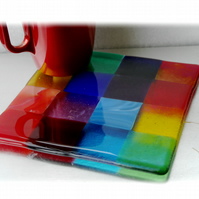 Fused Glass Trivet Rainbow Trivet 16cm  012
