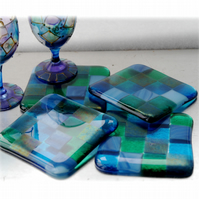 Fused Glass Coaster 8cm Aqua Patchwork