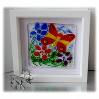 Fused Glass Butterfly Picture Box Framed 001