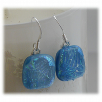 Handmade Fused Dichroic Glass Earrings 186 Turquoise Feather Sparkle