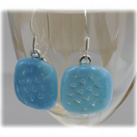 Handmade Fused Dichroic Glass Earrings 184 Turquoise Chequered