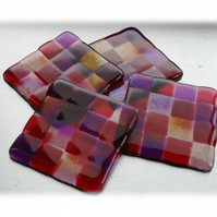 Fused Glass Coaster 8cm Plum Patchwork