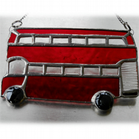 London Bus Suncatcher Stained Glass Red Double Decker