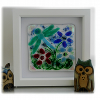 Fused Glass Dragonfly  Picture Box Framed 002