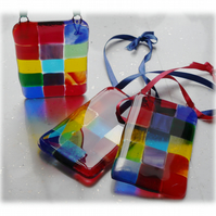 Rainbow Fused Glass Suncatcher Patchwork Hanging