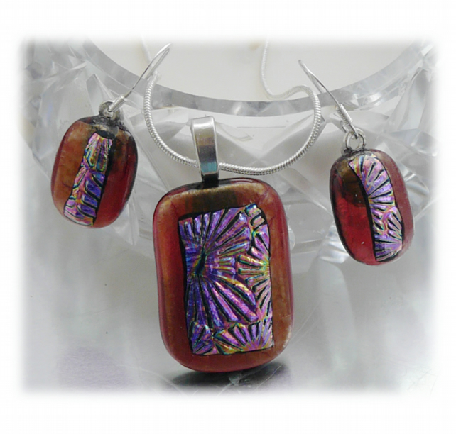 Dichroic Glass Pendant Earring Set 057 Plum Florentine with silver plated chain